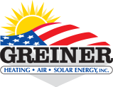 greiner heating and air conditioning | heating, air, solar, energy, inc. | illustration of sun and american flag